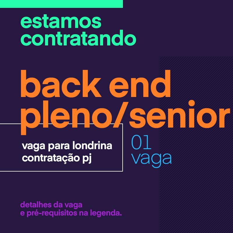 Analista Desenvolver Back End Pleno